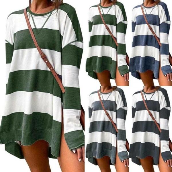 Kvinnor Sweatshirts Randigt tryck Långärmad Mode Casual Green + White M