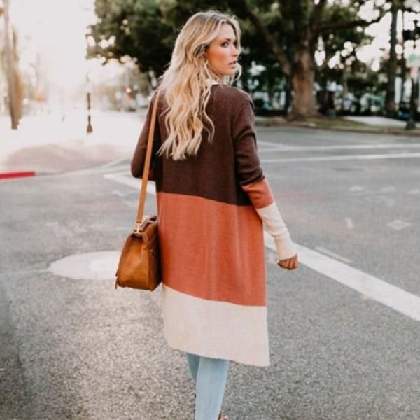 Famale Fashion Stickad lång kofta långärmad gray XL