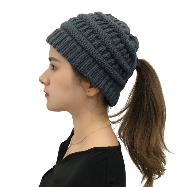 Mode retro huvudbonad kvinnas korsade hästsvans stickad hatt Dark gray