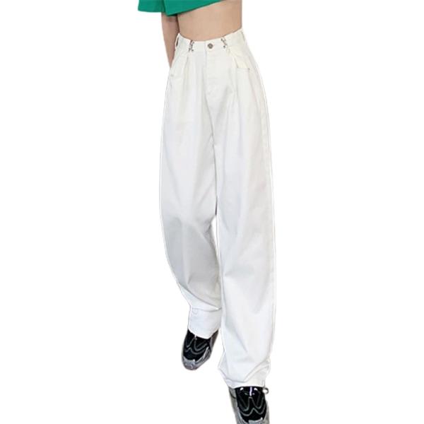 Modetrend för kvinnors jeans raka färg moppbyxor white XL