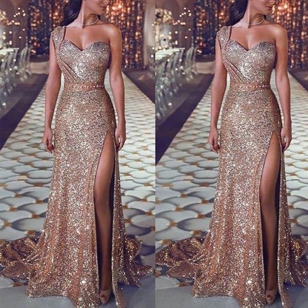 Kvinna sexig en axel ärmlös klänning slits lång aftonklänning S