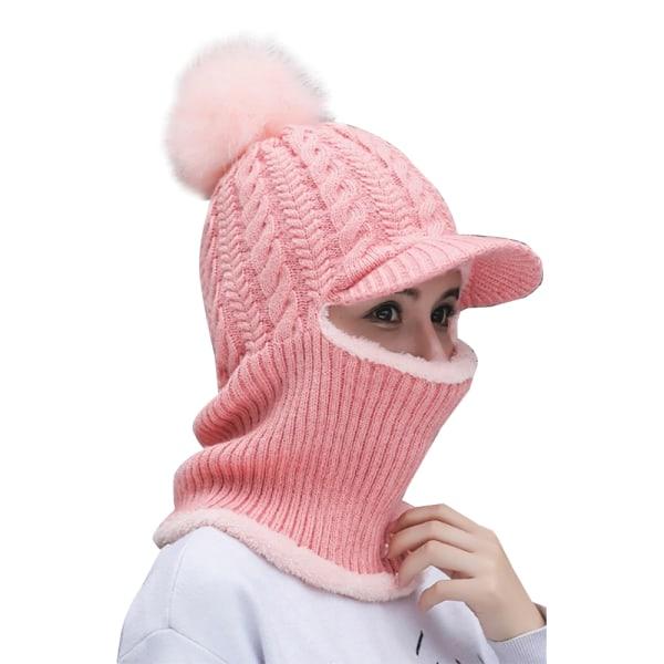 Trendig retro huvudbonad kvinnas vindtäta stickade hatt Pink