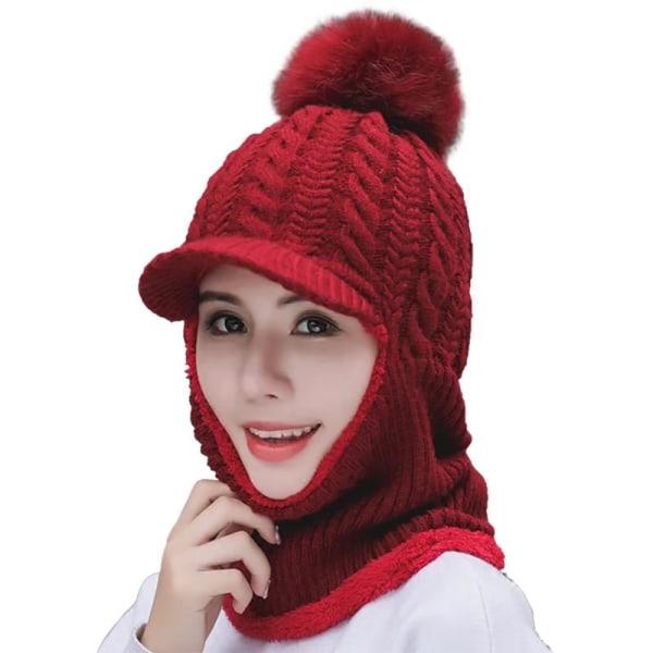 Trendig retro huvudbonad kvinnas vindtäta stickade hatt Red wine
