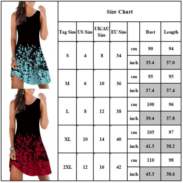 Kvinnors sommar bomullstryck personlighet mode väst lång kjol wine red 2XL