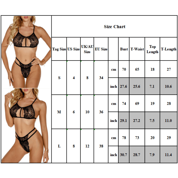 Kvinnors sexiga underkläder Babydoll Bra Thong 2PCS Set Underwear Black S