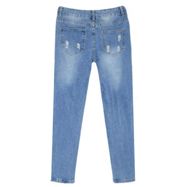 Dam med hög midja skinny stretch jeans slitna _ slitna jeansbyx M