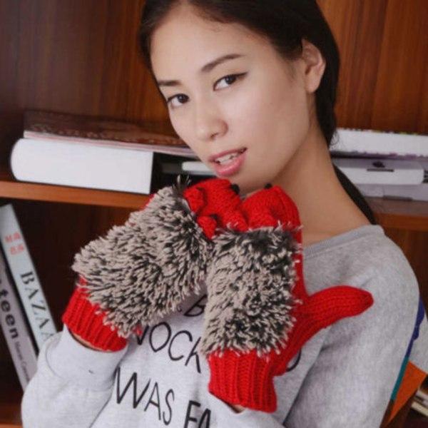 Kvinnliga tecknade igelkott stickade handskar mode handskar red