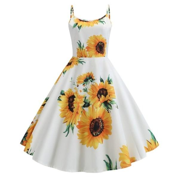 Kvinnliga damer Vintage solros klänning elegant sommar