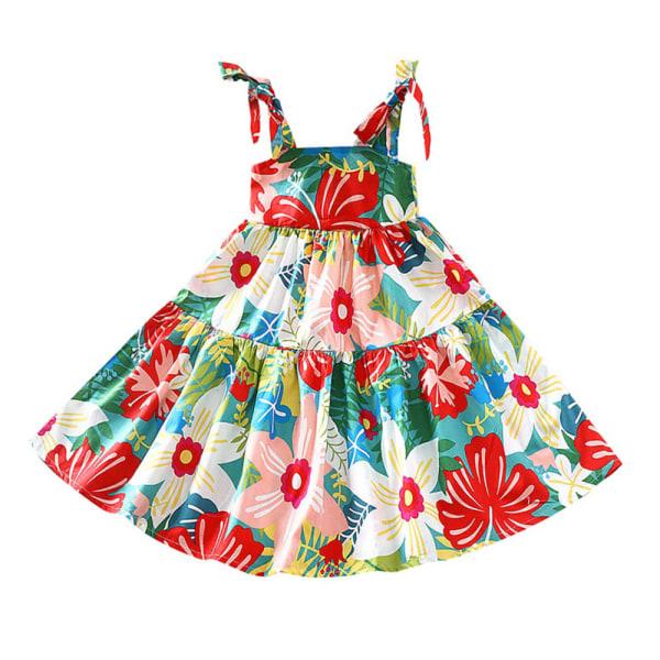 Flickor blommigt tryck Tpddler Axelbandslös Bow Hawaiian smockad klänning Red 130