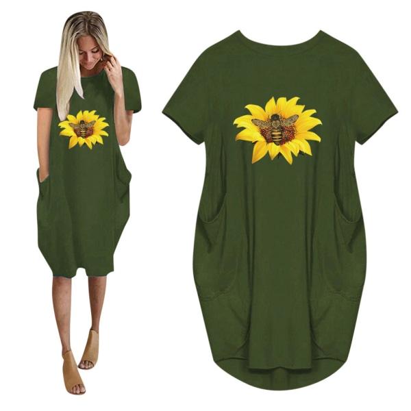 Flicka solros kortärmad klänning med tryck army green 4XL