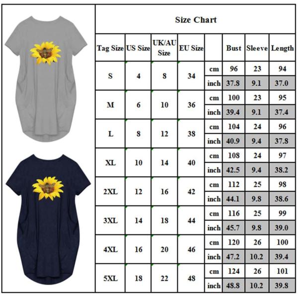 Flicka solros kortärmad klänning med tryck yellow S