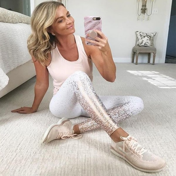 Women's sequin printed yoga pants fitness sports yoga pants white M