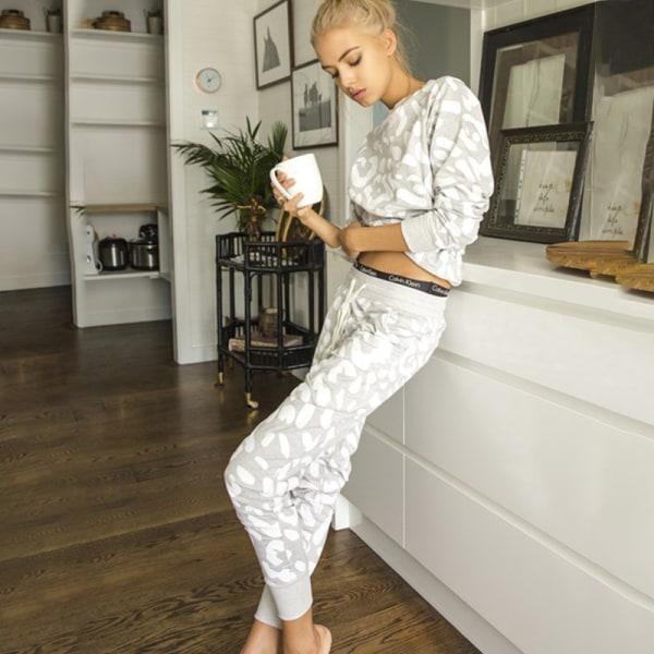 Grå Zebra Print Mode Träningsoverall Hemkläder