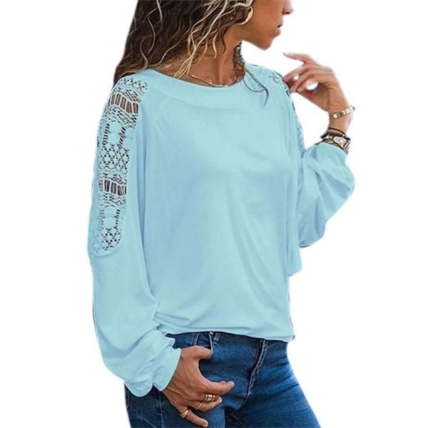 Damblommig rund rund hals elegant långärmad skjorta sky blue XL