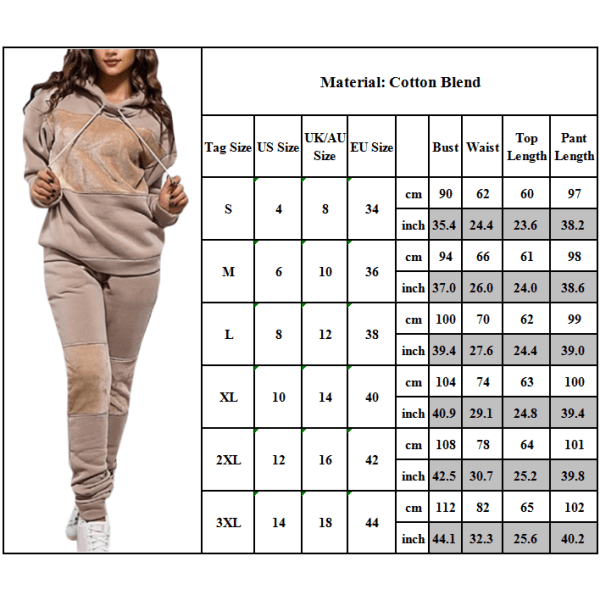Hoodie Sportswear Pullover Långärmade byxor Damtröja kaki XL