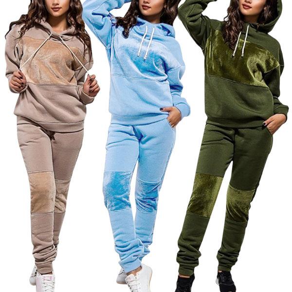 Hoodie Sportswear Pullover Långärmade byxor Damtröja army green 3XL