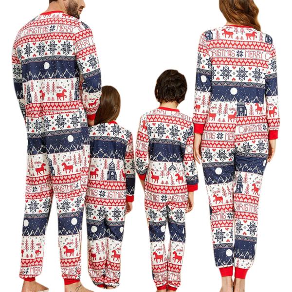 Jul förälder-barn kostym tryckt hem kläder pyjamas i ett stycke Far 2XL