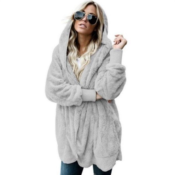 Kardjacka med huva för kvinnor Vinteröppen fleecejacka med ficka grå M