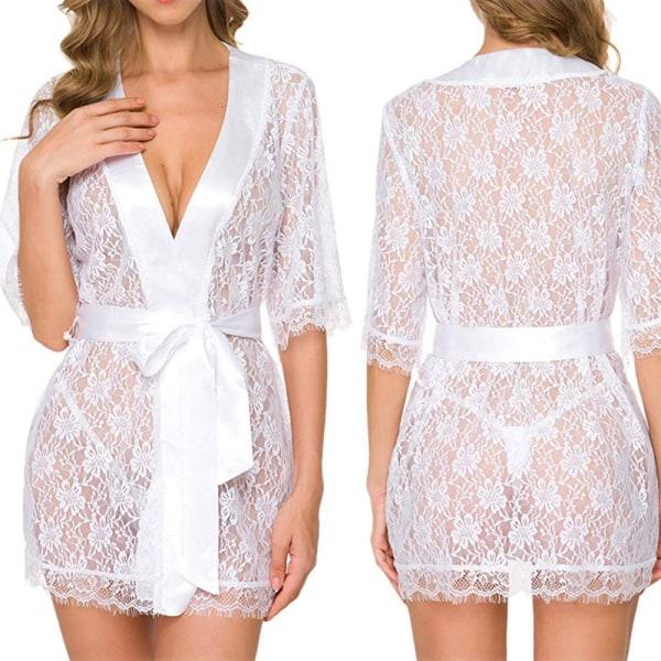 Kimono-mantel för spetsar med sexiga pyjamas i mesh Vit S