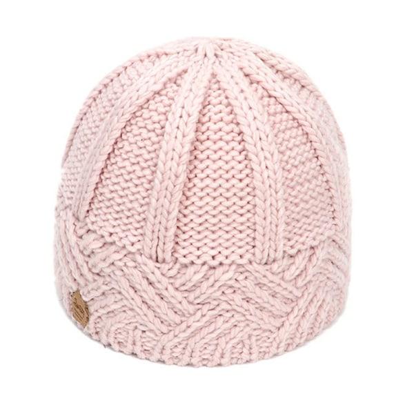 Stickad mössa för kvinnor Herrfodrad tjock vinterhatt Pink