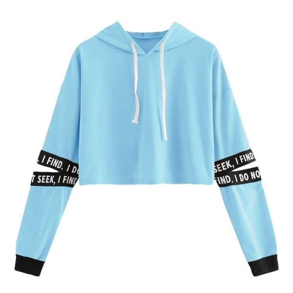 Koreansk stil Kawaii Girl Crop Top Hooded black XL