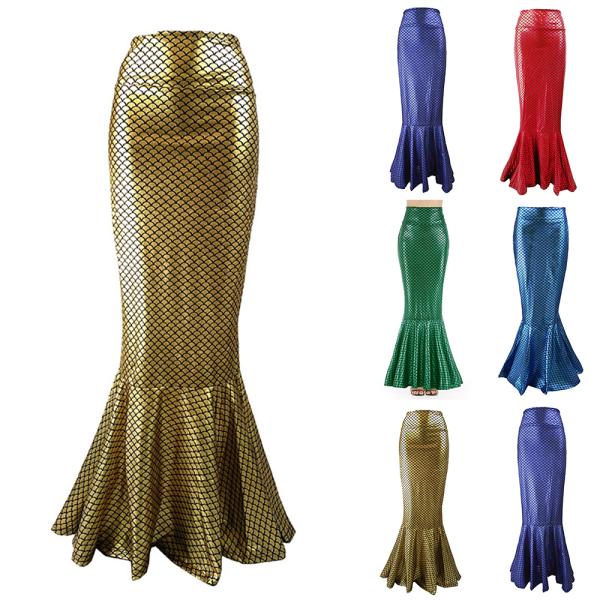 Kvinnans temperament sexig sjöjungfru hög midja fishtail kjol Green S