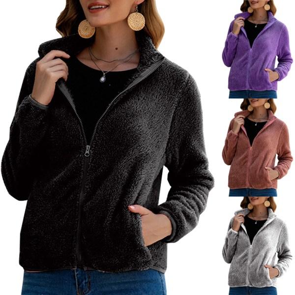 Kvinnors avslappnade färgfärgade blixtlåsjacka Ytterkläder grå M