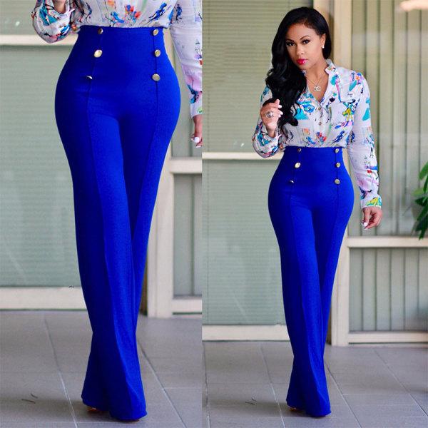 Kvinnors breda _ raka dubbelbyxor med avslappnad byxa i hög midj kungsblå M