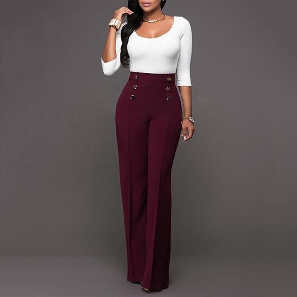 Kvinnors breda, raka dubbelbyxor med avslappnad byxa i hög midja rödvin M