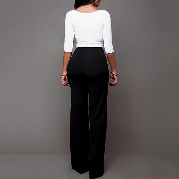 Kvinnors breda _ raka dubbelbyxor med avslappnad byxa i hög midj svart M