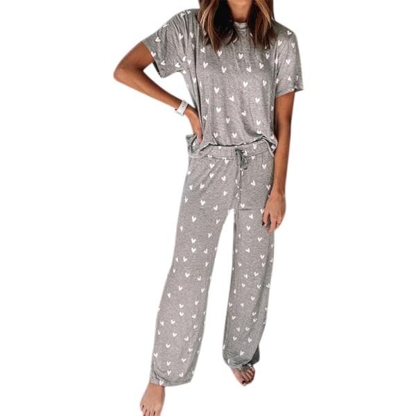 Kvinnors casual kortärmad och byxor tryckt pyjamaset Grå S