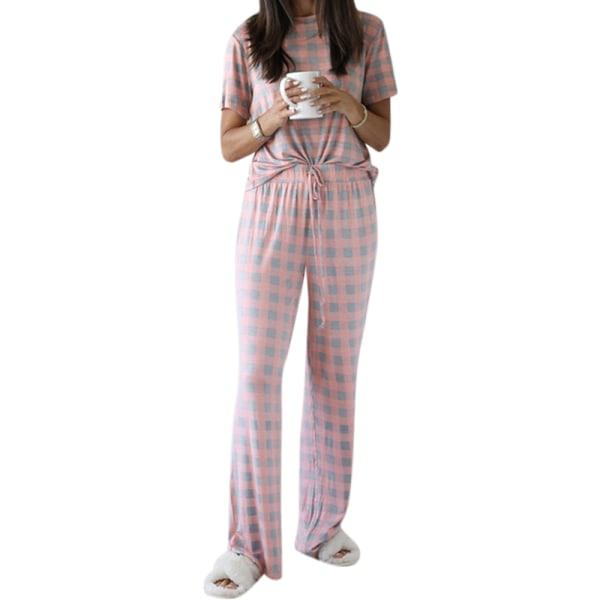 Kvinnors casual kortärmad och byxor tryckt pyjamaset Rosa S