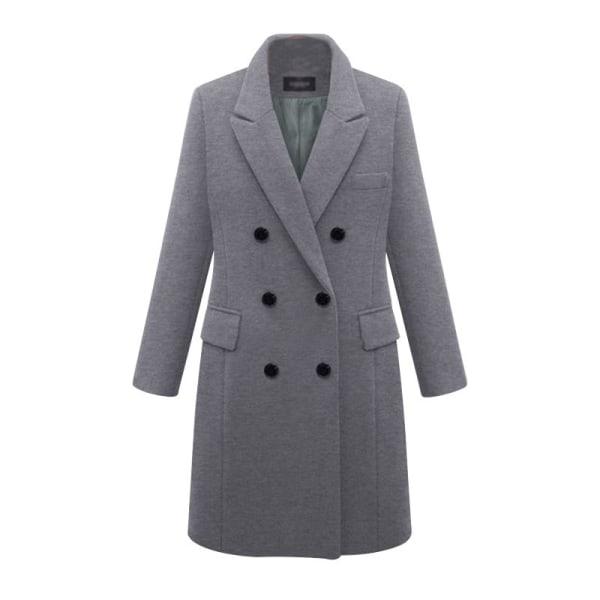 Kvinnors eleganta, hackade ullrock med dubbla bröst grå XL