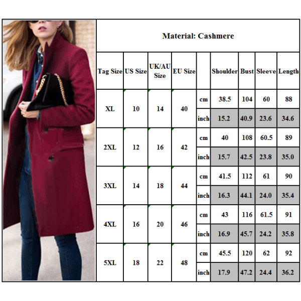 Kvinnors eleganta, hackade ullrock med dubbla bröst rödvin 4XL