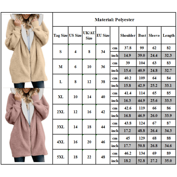 Kvinnors enfärgad varm plyschjacka Långärmad frontjacka med huva grå 2XL