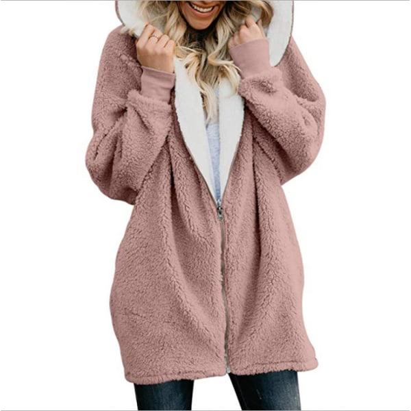 Kvinnors enfärgad varm plyschjacka Långärmad frontjacka med huva rosa 5XL