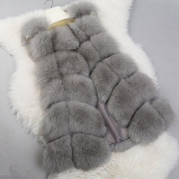 Kvinnors faux päls sömmar väst kort västrock ärmlös jacka grå S