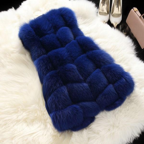 Kvinnors faux päls sömmar väst kort västrock ärmlös jacka kungsblått L