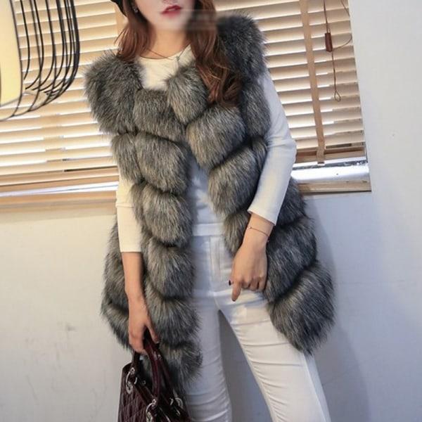 Kvinnors faux päls sömmar väst kort västrock ärmlös jacka silver 3XL