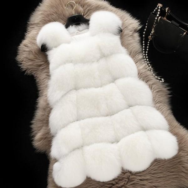 Kvinnors faux päls sömmar väst kort västrock ärmlös jacka vit M