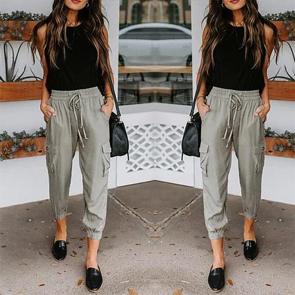 Kvinnors ficka dragsko byxor _ dragbyxor _ street stil grå S