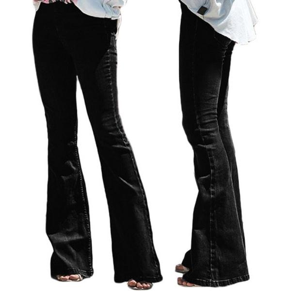 Kvinnors flared jeans elastisk midja nederkant retro byxor svart L
