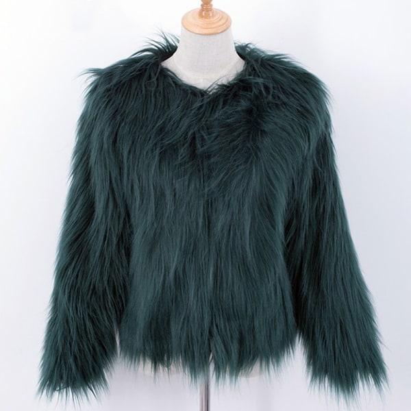 Kvinnors fuskpäls fluffig enfärgad kortärmad kappa jaspis L