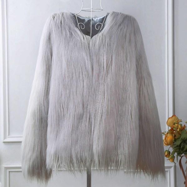 Kvinnors fuskpäls fluffig enfärgad kortärmad kappa ljusgrå L