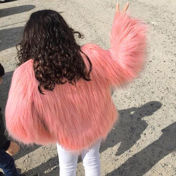 Kvinnors fuskpäls fluffig enfärgad kortärmad kappa rosa M