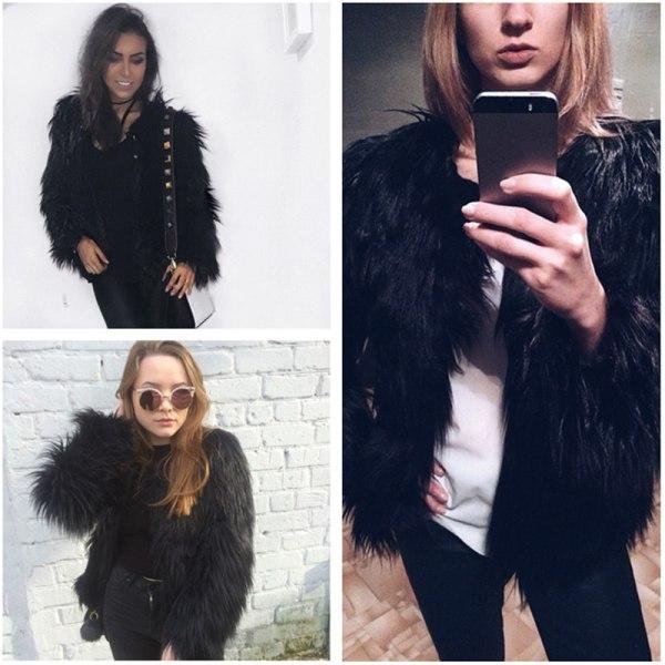 Kvinnors fuskpäls fluffig enfärgad kortärmad kappa svart 2XL