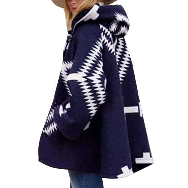 Kvinnors geometriska mönster ullrock vinterjacka kappa lös kappa blå S
