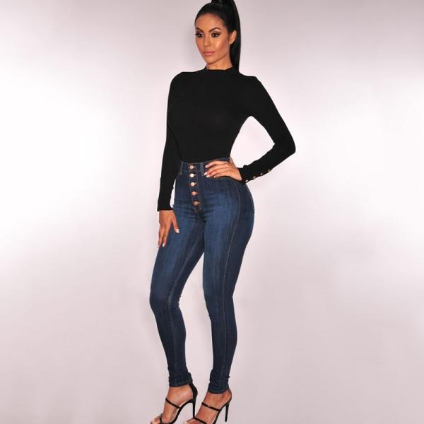 Kvinnors jeans med fem knappar,skinny jeansunderdel i retro-mode svart L