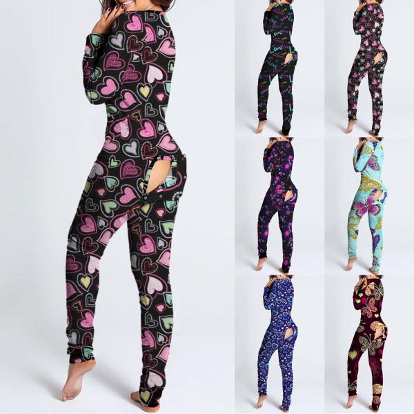Kvinnors långärmad hel del Pajama sexig V-ringning Knapptyp Svart S
