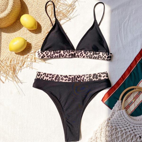 Kvinnors leopardmönster med hög midja Bikini Set sport baddräkt leopard L